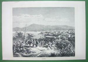 ITALY-Sicily-View-of-Palermo-amp-Bay-Antique-Print