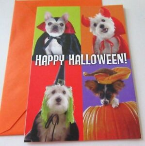 Unused Halloween Card Dogs Puppies In Costumes Happy Halloween