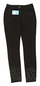 Womens-M-amp-Co-Black-Sparkly-Jeans-Size-10-L30