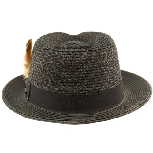 Men/'s Light Vented Removable Feather Derby Fedora Curled Brim Hat