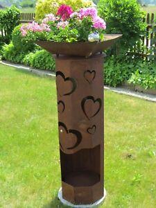 8-Eck-Saeule-Rost-Herz-Edelrost-Metall-Edelstahlkugel-Gartendeko-Dekoration-Liebe
