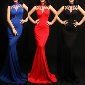 Abendkleid-Ball-Cocktail-Brautjungfern-Meerjungfrau-Damen-Kleid-Tuell-Strass-lang