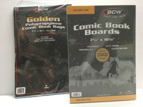 /& Boards 7 5//8 Storage//Supplies 7 1//2 100 BCW GOLDEN AGE Comic Size Bags