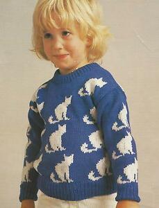 "Sweater with Cat Motif Knitting Pattern in DK 24-30"" 213 ..."