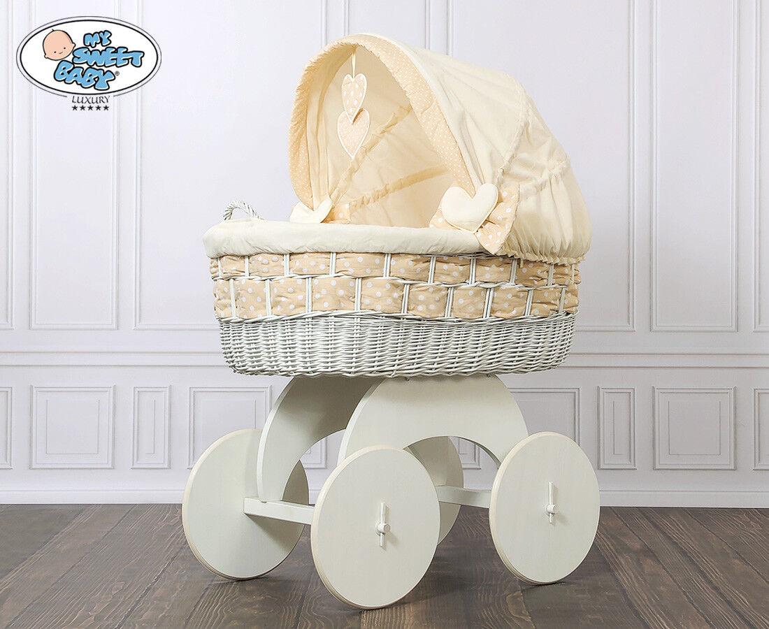My sweet baby luxury stubenwagen bollerwagen xxxl beige weiss mit