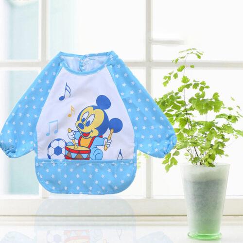 Kids Baby Lovely Cartoon Bibs Full Long Sleeve Waterproof Feeding Craft Apron