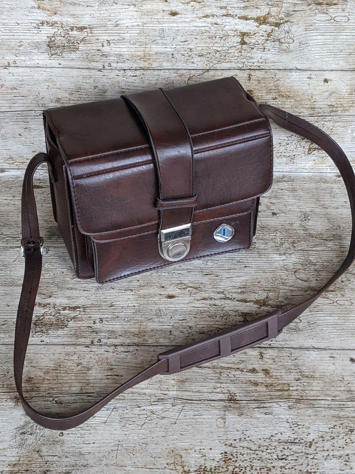 Vintage Brown Hard Shell Camera & Lenses Protective Bag Carry Case