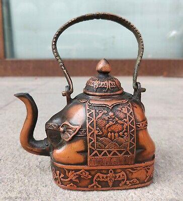 Antique Tibetan Bronze Totem elephant figure Teapot Tea Pot Statue