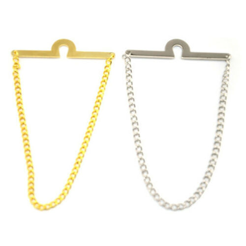 2 Packs Men Silver Gold Color Necktie Tie Chain Wedding Party Business Jewelry