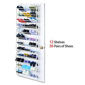 36-Pair-Over-The-Door-Shoe-Rack-Wall-Hanging-Closet-Organizer-Storage-Stand-US