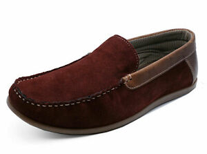 MENS-LEATHER-TAN-BURGUNDY-SLIP-ON-LOAFERS-DRIVING-BOAT-DECK-MOCCASIN-SHOES-6-12