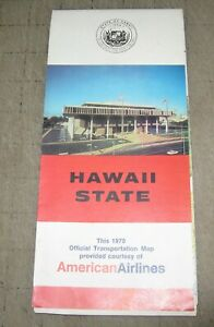 1970 AMERICAN AIRLINES Hawaii State Courtesy Transportation Map - Great Graphics