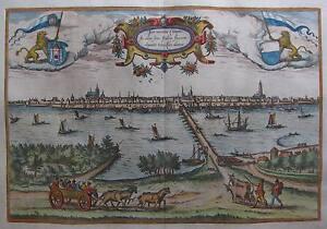 Kampen-in-den-Niederlanden-Braun-und-Hogenberg-Originale-Ansicht-um-1580