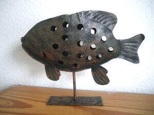 Fisch-Teelichthalter-Metall-Rostoptik-ca-26-cm-kupferfarben-schwarz-Staender
