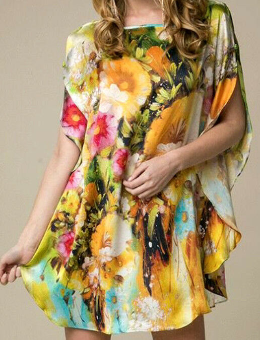 100% Silk Shirt So Cool You Feel NakedNEW Floral EleganceSilkArtGröße10-14BR