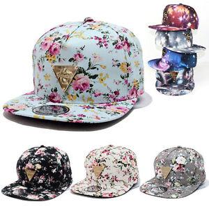 Men Women Floral Flower Snapback Hip-Hop Hat Flat Galaxy Adjustable Baseball Cap