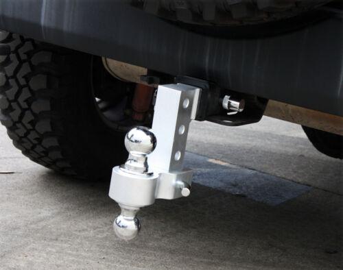 "2pc Key Lock Pins /& Adjustable Aluminum Tow Hitch 6/"" Raise Drop Dual Hitch Ball"