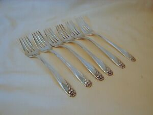 6-Old-1847-Rogers-Bros-Silver-Daffodil-Salad-Forks-Excellent-Cn-6-3-4in-1950
