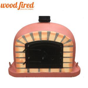 Outdoor Cooking & Eating Brick Wood Fired Pizza Oven 100cm Brick Red Italian Orange-brick/black-door