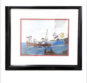 "Limited Addition Popeye Sericel ""Gone fishing "" Signed Myron Waldman 215/250"