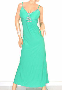 ABITO-LUNGO-donna-VERDE-vestito-elegante-strass-da-sera-cerimonia-damigella-E135