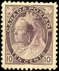 Canada-83-mint-F-VF-OG-H-1898-Queen-Victoria-10c-brown-violet-Numeral-CV-475-00