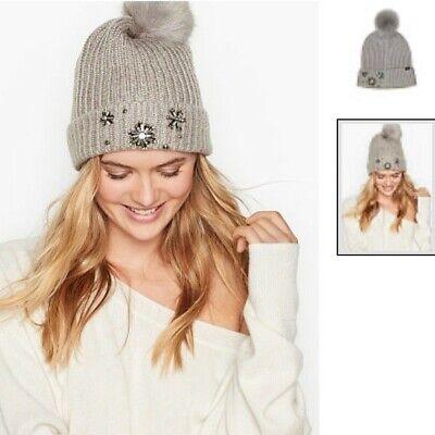 Victoria/'s Secret Winter Angel Snowflake Sparkle Pom Pom Hat Beanie Blush NEW