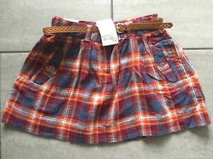 4ca85ba3dc Next Girls Check Belted Cotton Skirt Age 6 Years BNWT. RRP £15.   eBay