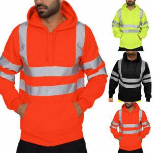 Hi-Viz-Vis-Mens-Jacket-Pullover-Hoodie-Work-Hooded-Fleece-Sweatshirt-Coat-UK