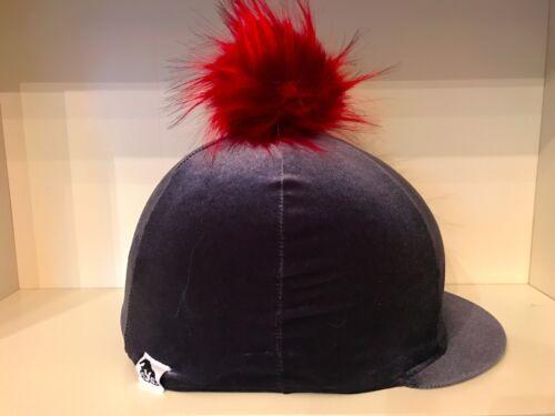 SXC Stunning Velvet Faux Fur Pompom Hat Silk Cover Handmade in UK Top Quality