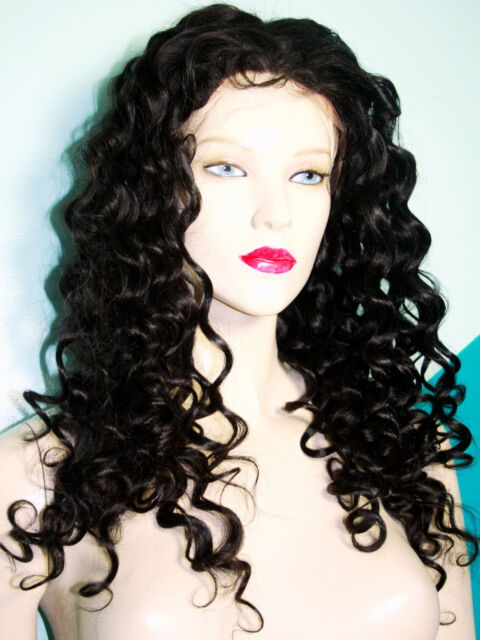 Bouncy #1B Remi Remy Indian Human Hair Full Lace Wig Long Curly Off Black Soft
