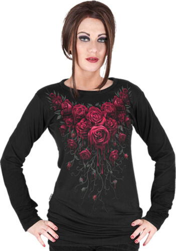 Spiral Direct Neuf Libération Sang Rose Manches Longues Viscose,Gothique Roses//