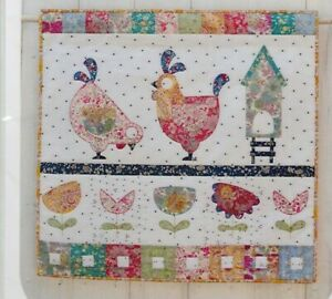 Hen-House-Mini-Quilt-cute-applique-wall-quilt-PATTERN-KIT-Claire-Turpin