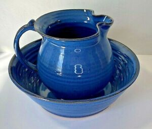 Bowl & Ewer/Pitcher Blue Pottery Art by Charles Wagoner Studio Billie Creek IN