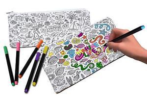 VHALE-2pcs-Color-Your-Own-Pencil-Case-Cosmetic-Makeup-Pouch-Bag-Doodle-Art-Craft