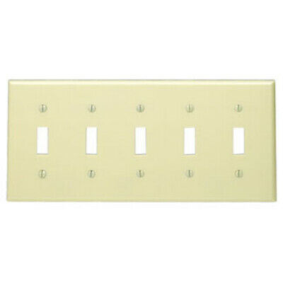 Leviton Ivory 5-Gang Toggle Light Switch Cover Wall Plate Switchplate 86023