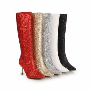 Women-Fashion-Glitter-Zip-High-Heels-Knee-High-Nightclub-Boots-Shoes-Size-32-43