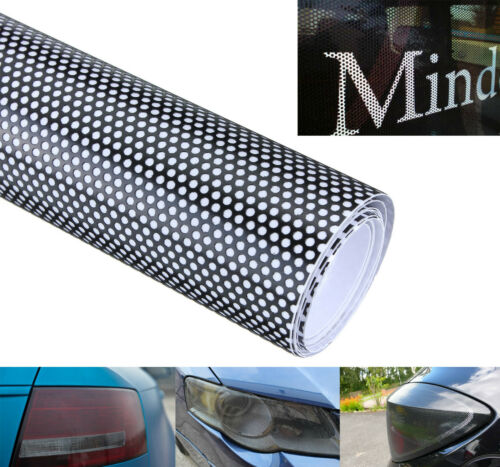 Voiture 20x107cm fenêtre fly eye phare vinyle wrap spi vision mot noir juridique tint