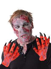 MENS ZOMBIE COSTUME LATEX GLOVES HANDS RED DEVIL HANDS HALLOWEEN FANCY DRESS NEW
