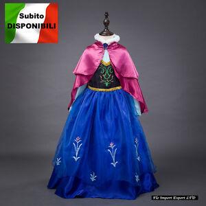 Carneva Frozen Vestito Carnevale Maschera Anna Girl Dress up Costume  Cape caldo