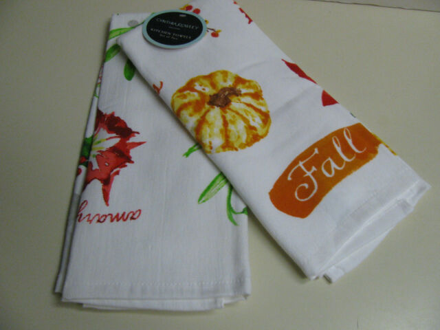 Cynthia Rowley Kitchen Towels - Fall and Winter Themes - Set of 2 - NEW