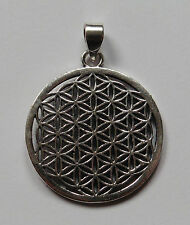 Flower of Life Sacred Geometry Silver Coloured Pendant 30mm Diameter