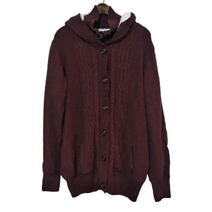 Full Zip/Button Hooded Sherpa Heavy Knit Lined Jacket Women's 2XL Brown XXL