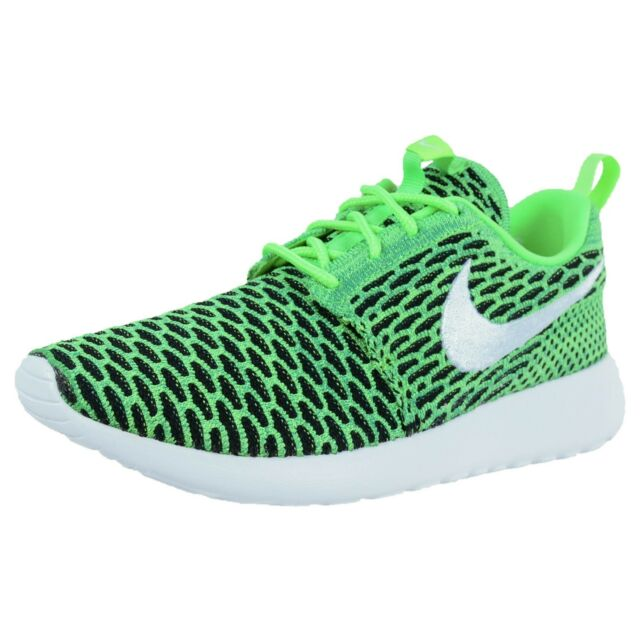a5f4738dd9de NIKE WOMENS ROSHE ONE FLYKNIT CASUAL SNEAKERS VOLTAGE GREEN WHITE 704927 305