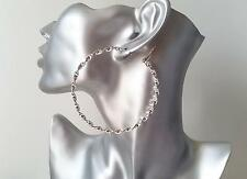 Gorgeous shiny silver tone twisted style hoop earrings, * NEW *  7cm - 2.75""