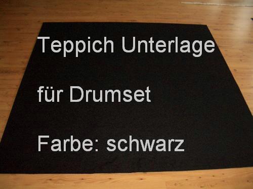 m ² Tappeto Documento per Set percussioni Tamburo nero 200x200 NUOVO