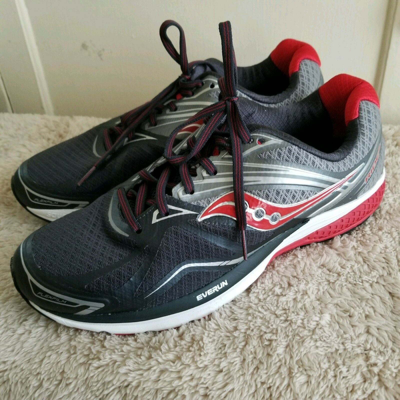 Saucony Men's Ride 9 Everun Running shoes Grey Charcoal Red 11.5 W US New