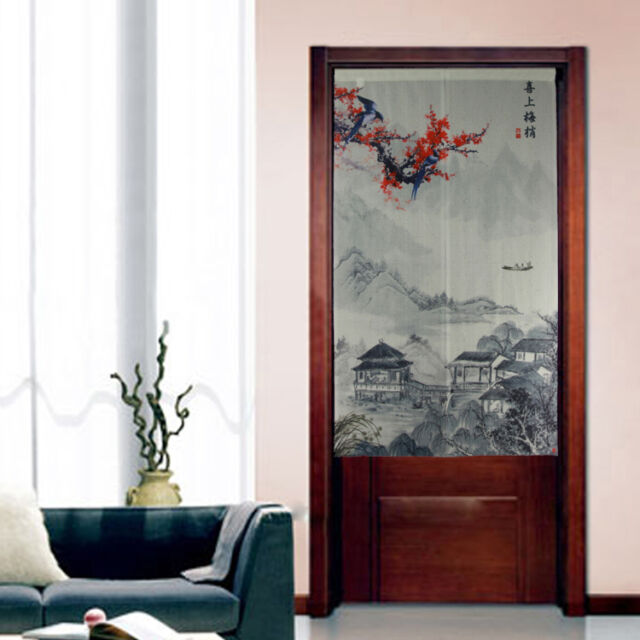 Traditional Japanese Noren Fabric Chinese Paiting Scenery Doorway Curtain D3077