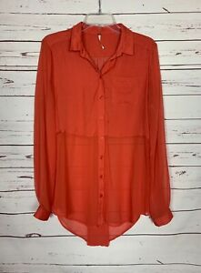 Free People Women's Size S Small Orange Button Long Sleeve Cute Spring Tunic Top
