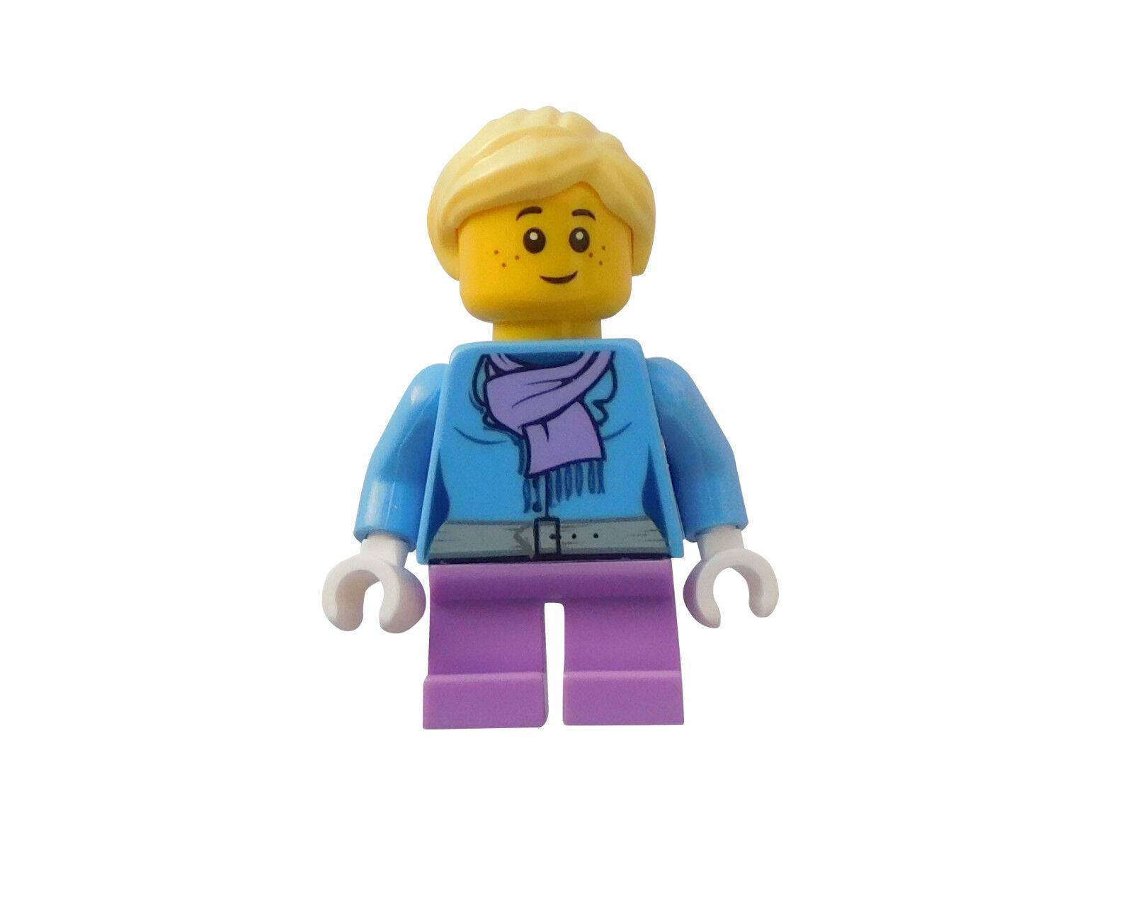 Lego Boy Winter short Legs in Dark Blue Ski Hat hol128 Mini Figurine